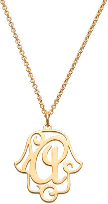 Limoges Jewelry Women's Necklaces GOLD - Gold-Plated Filigree Initial Hamsa Pendant Necklace