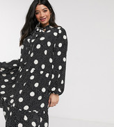 New Look Plus Curve long sleeved polka dot smock dress in black