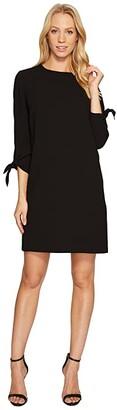 CeCe 3/4 Tie Sleeve Moss Crepe Shift Dress (Rich Black) Women's Dress