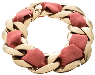 Chanel Pink Fabric Gold Tone Chain Link Bracelet