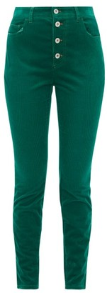 Miu Miu Distressed Cotton-blend Corduroy Slim-leg Trousers - Womens - Green