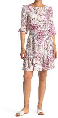 Gabby Skye 3/4 Length Sleeve Floral Print Crepe Fit and Flare Dress
