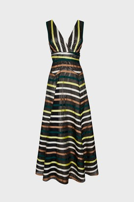 Coast Stripe Jacquard V Neck Maxi Dress