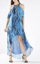 BCBGMAXAZRIA Jessyca Embellished Halter Cutout Shoulder Gown