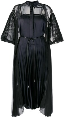 Sacai Pleated Sheer Detail Dress