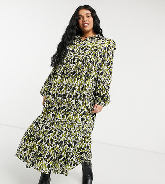 Never Fully Dressed Plus tiered smock shirt midi dress in green smudge print