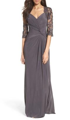 La Femme Ruched Twist Column Gown