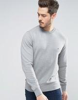 Tommy Hilfiger Crew Sweatshirt Flag Logo In Grey Marl