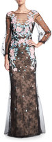 Marchesa Lace Tulle Long-Sleeve Evening Gown w/ Floral Embroidery