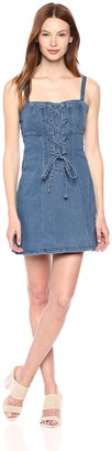 Finders Keepers findersKEEPERS Women's Inverse LACE UP Sleeveless Denim Mini Dress