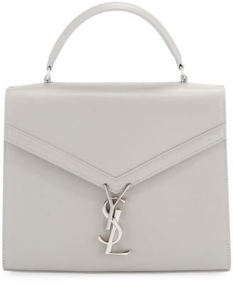 Saint Laurent Cassandra Medium Grain de Poudre Tech Top-Handle Shoulder Bag