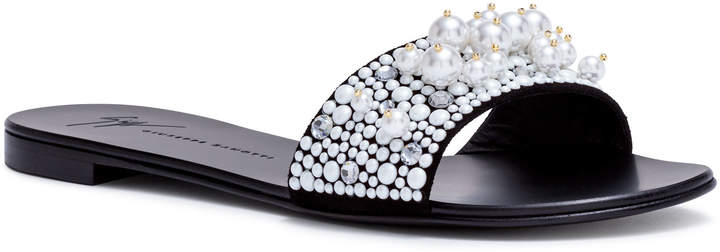 Giuseppe Zanotti Black 10 pearl slide flats