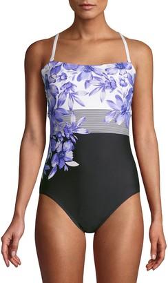 Calvin Klein Floral Stripes Bandeau One-Piece Swimsuit