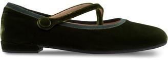 Miu Miu velvet crisscross ballerina shoes