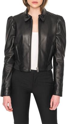 LAMARQUE Ursula Puff-Sleeve Leather Jacket