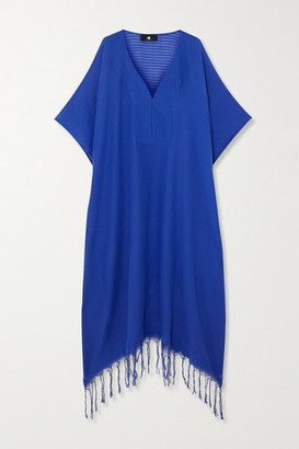 SU PARIS Jimba Fringed Striped Cotton-voile Kaftan - Royal blue