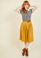 Breathtaking Tiger Lilies Midi Skirt in Mustard in 3X