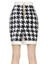 Balmain Woven Houndstooth & Nappa Leather Skirt