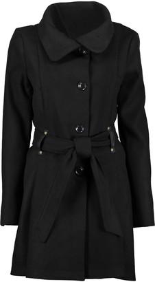 Yoki Women's Car Coats BLACK - Black Funnel Collar Coat - Women