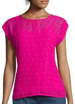 Liz Claiborne Short-Sleeve Clip Pattern Blouse