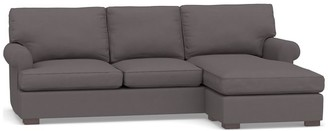 Pottery Barn Townsend Roll Arm Upholstered Sofa with Reversible Storage Chaise Sectional