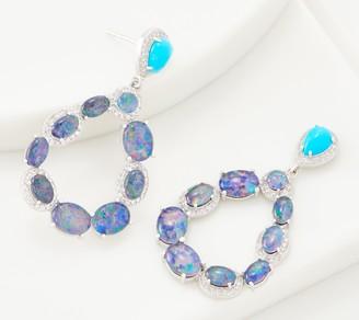 Turquoise and Australian Opal Triplet Sterling Silver Hoop Earrings