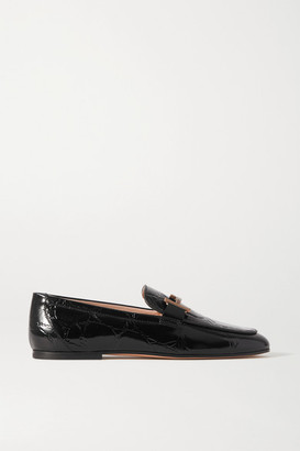 Tod's Doppia Embellished Glossed Croc-effect Leather Loafers - Black
