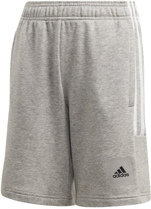 adidas Junior Boys DMH 3 Stripe Shorts - Grey/White