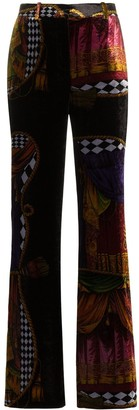 Versace high-waisted Sipario print silk blend velvet trousers