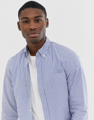 J.Crew Mercantile J Crew Mercantile slim fit stripe button down flex washed shirt in harbor view blue