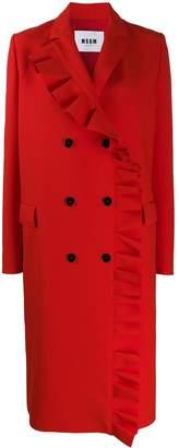 MSGM ruffle trim mid-length coat