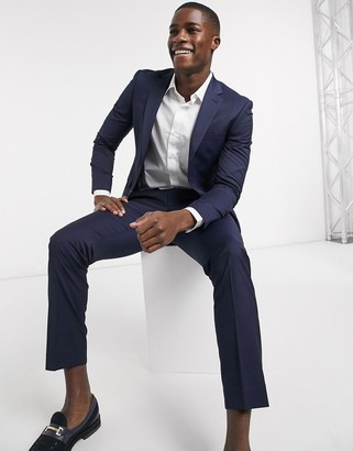 Moss Bros suit pants with stretch in navy
