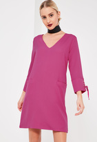 Missguided Lace Up Fitted Crepe Dress Pink