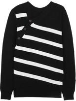 Proenza Schouler Striped Cashmere And Cotton-blend Sweater - Black