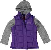 Weatherproof Purple Pocket Layered Hooded Puffer Coat - Girls