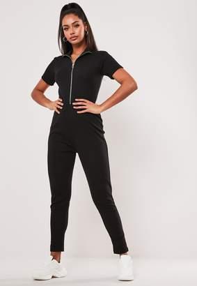 Missguided Black Rib Zip Front Jumpsuit