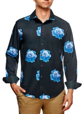 Tallia Men's Slim Fit Peony Print Long Sleeve Shirt and a Free Face Mask