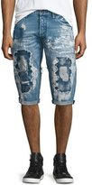 PRPS Destroyed Bleach-Splatter Denim Shorts, Blue
