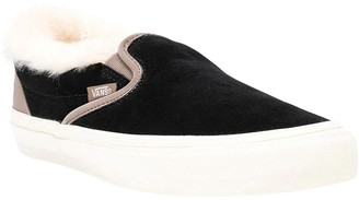 Vans Shearling Trim Black Classic Slip-on Sneakers