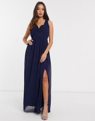 Little Mistress Raisa lace back detail maxi dress in navy