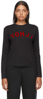 Y-3 Y 3 Black and Red Yohji Letters Long Sleeve T-Shirt
