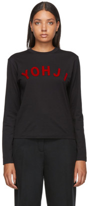 Y-3 Black and Red Yohji Letters Long Sleeve T-Shirt