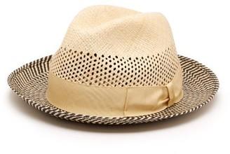 Borsalino Quito Woven-straw Panama Hat - Mens - Navy Multi