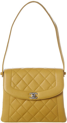 Chanel Yellow Quilted Caviar Leather Single Flap Shoulder Bag