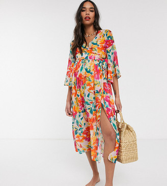 Unique21 Maternity Unique 21 Maternity Tropical Cross Over Top and Shirred Split Maxi Skirt SET