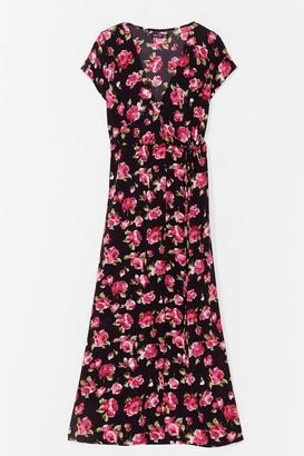Nasty Gal Womens Plus Size Floral Wrap Maxi Dress - Black - 22, Black