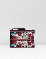 Reclaimed Vintage Inspired Embroidered Floral Clutch Bag