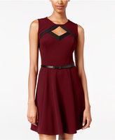 Amy Byer Juniors' Belted Cutout Fit & Flare Dress