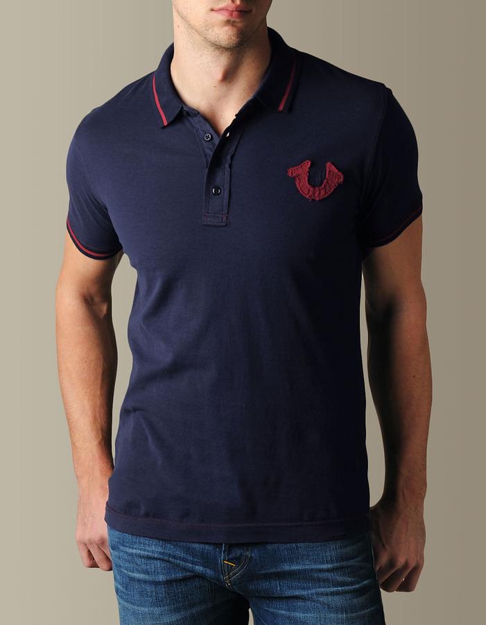 True Religion Mens Hand Picked Color Trim Logo Polo - (dark Navy/High Red)