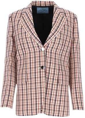 Prada Checked Single Breasted Blazer